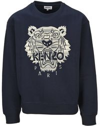 KENZO Tiger Embroidered Crewneck Sweatshirt - Blue