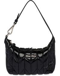 Miu Miu Logo Plaque Padded Tote Bag - Black