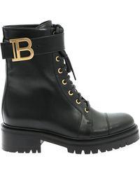 Balmain Ranger Combat Boots - Black