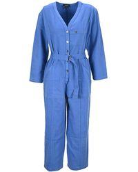 A.P.C. Gaelle V-neck Jumpsuit - Blue
