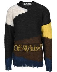 Off-White c/o Virgil Abloh - Colorblock Distressed Knit Jumper - Lyst
