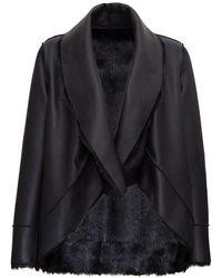 Pinko Reversible Faux Fur Coat - Black