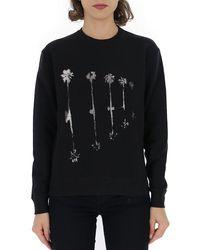 Saint Laurent Printed Crewneck Sweatshirt - Black