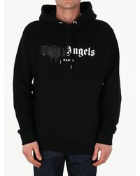 Palm Angels Black Spray Logo Hoodie