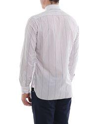 Isaia Stripe Patterned Fano Mix Shirt - White