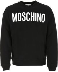 Moschino Logo Printed Crewneck Sweatshirt - Black