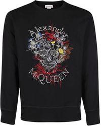Alexander McQueen Floral Skull Print Sweatshirt - Black