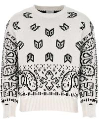 Rhude Embroidered Cotton Blend Jumper Nd Uomo - White