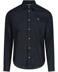 Vivienne Westwood Logo Embroidered Slim-fit Shirt - Black