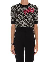 Pinko Allover Logo Cropped Knit Jumper - Black