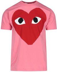 COMME DES GARÇONS PLAY Heart Print Crewneck T-shirt - Pink