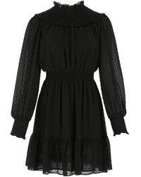 MICHAEL Michael Kors Swiss-dot Gathered Dress - Black