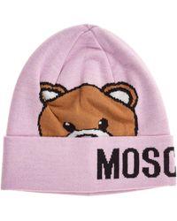 Moschino Beanie Hat Teddy - Pink