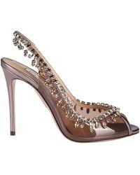 Aquazzura Embellished Slingback Court Shoes - Brown