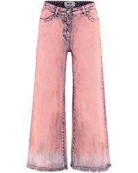 MSGM Frayed Hem Culotte Jeans - Pink