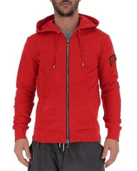 Balmain Graphic Print Hooded Jacket - Red