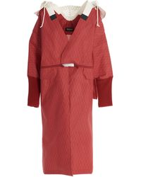 Undercover Hooded Oversize Coat - Red