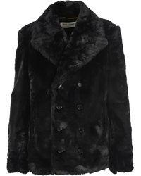 Saint Laurent Faux Fur Pea Coat - Black