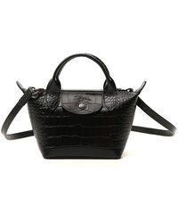 Longchamp Le Pliage Cuir Xs Top Handle Bag - Black