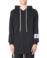 Rick Owens Hooded Sweater With Application On The Sleeve - Black