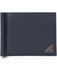 Prada Money Clip Bifold Wallet - Blue