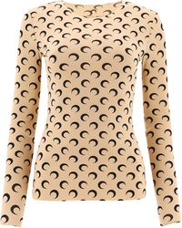 Marine Serre Women's T068icon09allovermoontan Beige Other Materials T-shirt - Brown