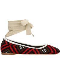 Miu Miu Crochet Ballerina Flat Shoes - Multicolour
