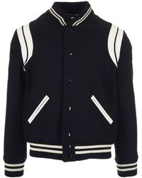 Saint Laurent Teddy Bomber Jacket - Black