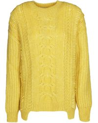 Stella McCartney Dropped Shoulder Cable Knit Sweater - Yellow