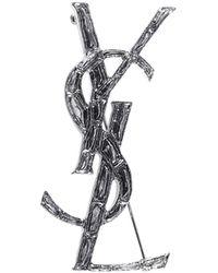 Saint Laurent Monogram Brooch - Metallic