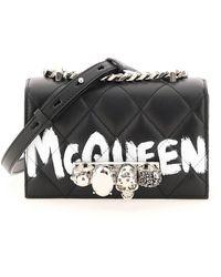 Alexander McQueen Mini Jewelled Satchel - Black