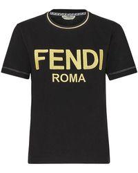 Fendi Logo Embroidered Crewneck T-shirt - Black