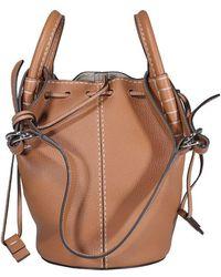 Tod's Logo Patch Mini Bucket Bag - Brown