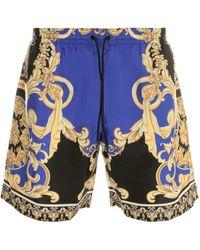 Versace Baroque Printed Swimming Shorts - Blue