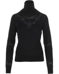 Dolce & Gabbana Lace Detail Turtleneck Sweater - Black