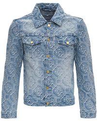 CASABLANCA Denim Jacket With Jacquard Logo - Blue