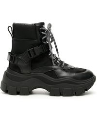 Prada Buckle Detail Lace Up Boots - Black