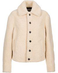 Saint Laurent Buttoned Shearling Jacket - Natural