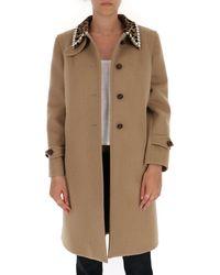 Miu Miu Embellished Collar Single-breasted Coat - Brown