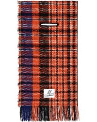 Marni Check Fringed Scarf - Red