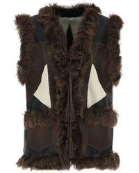 P.A.R.O.S.H. Sleeveless Fur-detailed Jacket - Multicolour