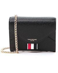 Thom Browne Pebbled Envelope Chain Wallet - Black