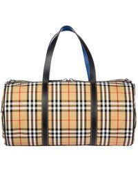 Burberry Large Vintage Check Duffle Bag - Natural