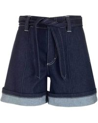 Chloé Paneled Belted Wide-leg Shorts - Blue