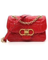 Ferragamo Women's Leather Shoulder Bag Gancini - Red