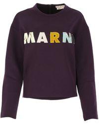 Marni Logo Patch Crewneck Sweatshirt - Purple