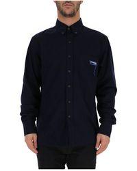 Prada Embroidered Logo Shirt - Blue