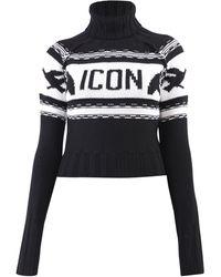 DSquared² Icon Knit Turtleneck Jumper - Black