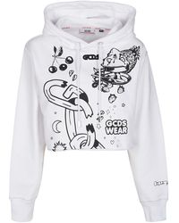Gcds Graphic-print Cropped Hoodie - Multicolour