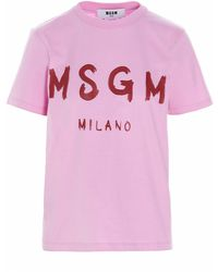 MSGM Logo Print Crewneck T-shirt - Pink